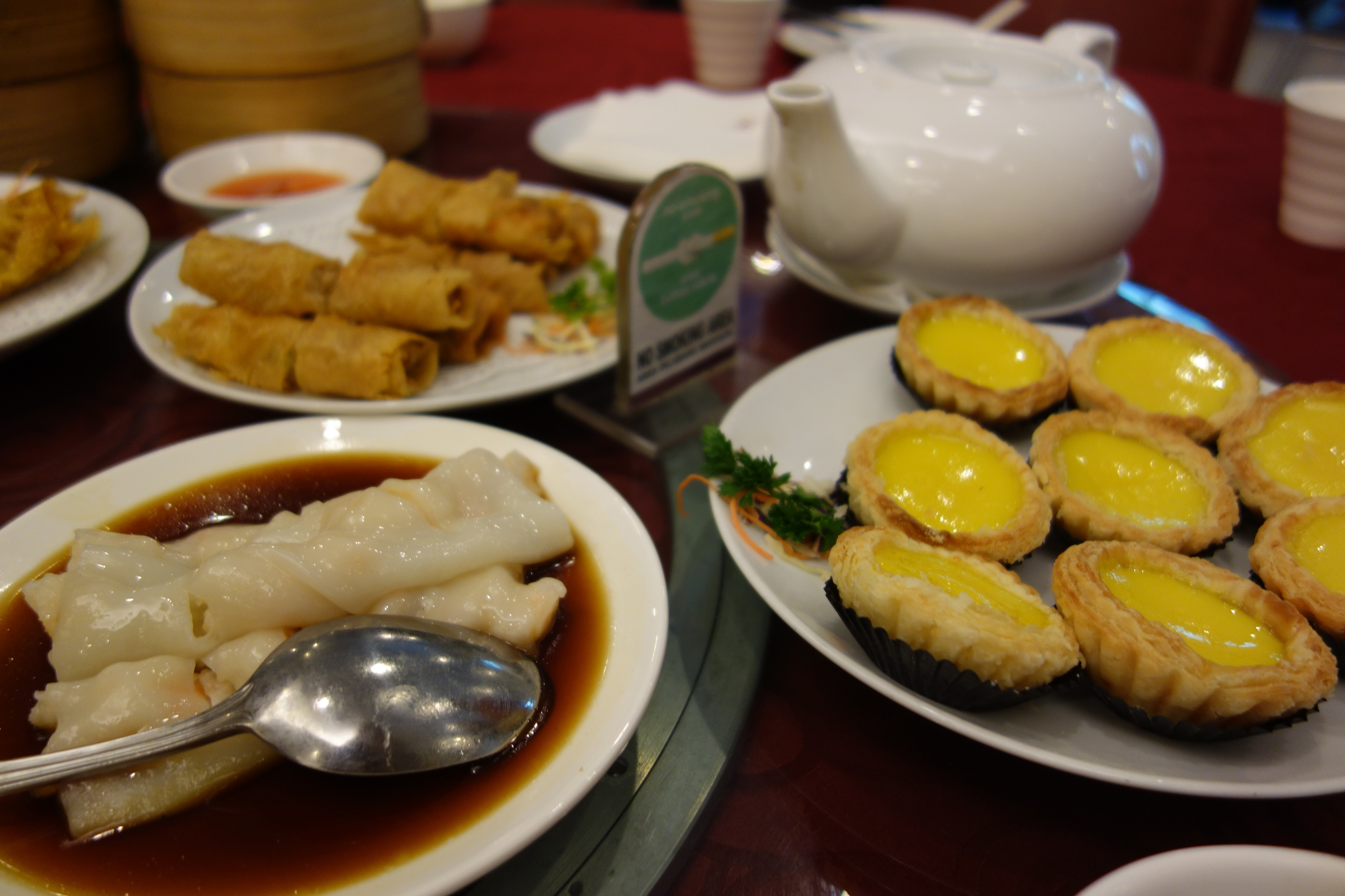 a range of Chinese dimpsum. there are only two choice: overeating or food waste