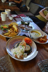 having a little lunch with friends in Ubud, Bali