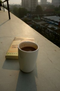 blissful morning with a cup of hot cocoa from Teo's apt